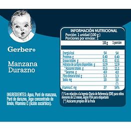 Compota GERBER® Manzana Durazno Pouch 100g X6 Unidades